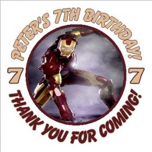 Personalised Iron Man Party Stickers